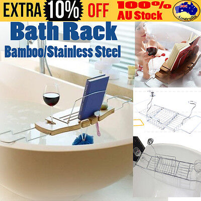NEW Bathroom Bamboo/SS Caddy Wine Glass Holder Tray Over Bath Tub Book Support