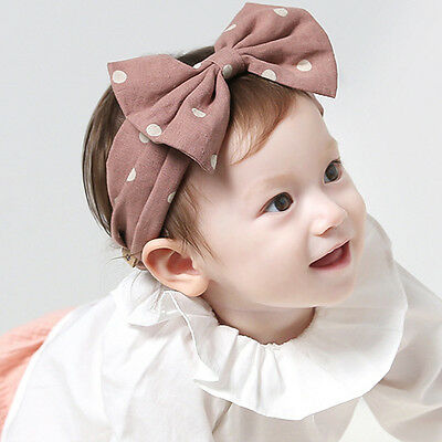 Baby Girls Headband Bow Knot Dots Hairband Kids Head Wrap Head Scarf Turban Cute