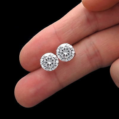 4Ct Created Diamond Earrings 14K White Gold Round Cut Solitaire Studs 8Mm