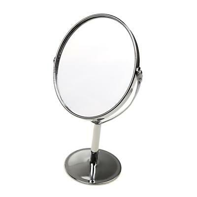 Maquillage à Miroir de Table Métal Double-Face Normal et Grossissant 1x/2x