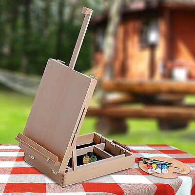 Folding Adjustable Wooden Table Easel Art Painting Drawing Sketch Storage Box