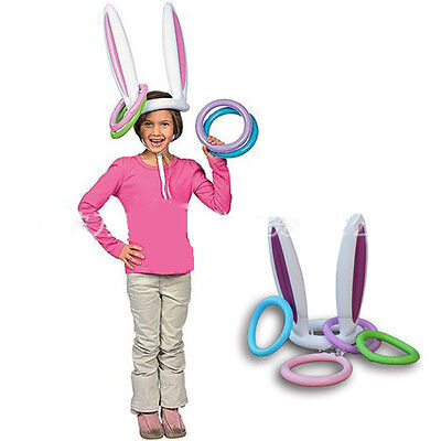 Inflatable Easter Bunny Ears Rabbit Hat Ring Toss Hawaiian Christmas Party Game