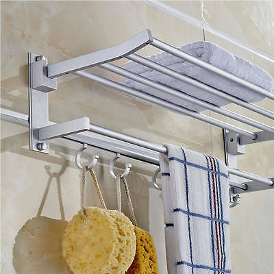 Wall-Mounted Towel Rack Holder Hook Hanger Bar Shelf Rail Storage Bathroom Hotel