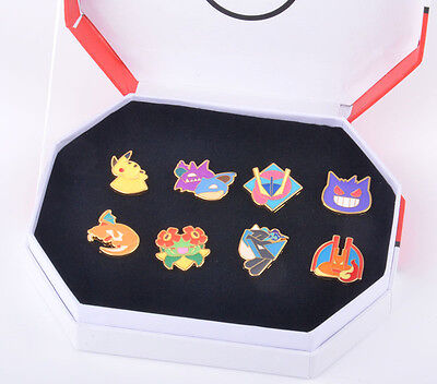Pokemon Go Gym Badges Pins : Pikachu Charizard Gengar Set Of 8+Box Kids Gift