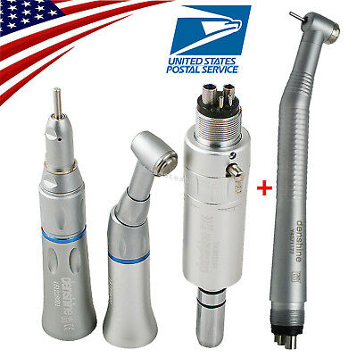 Dental High Low Speed Handpiece Kit Push Button 4 Hole Air Motor Turbine Fit NSK