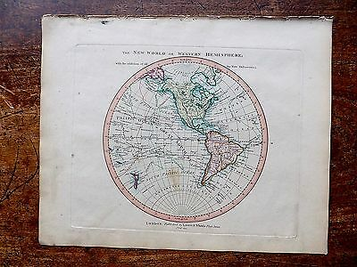 1801 Laurie Whittle Map W Hemisphere North South America USA World Old Antique
