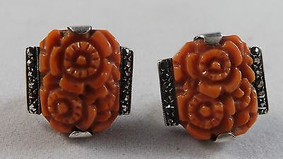 Nice Pair Of 1930's Carved Coral Sterling Silver And Marcasite Earrings