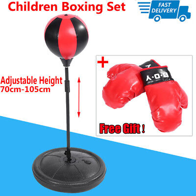 Kids Punch Ball Training Bag Adjustable Height Gloves Childrens Boxing Set Fun W