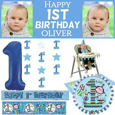 Blue Age 1 Boys Happy 1st Birthday Banner Balloons Confetti Decorations