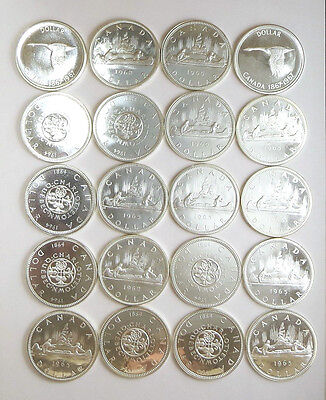 Canadian PL Silver Dollar Roll - 20 Coins - 1962 to 1967 !!!!