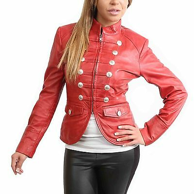 Womens Genuine Leather Military Style Casual Jacket Slim Fit Waist Length Red