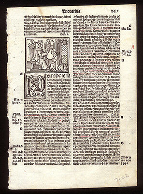 Book of Proverbs 1 - 4 1519 Bible Leaf Woodcut of King Solomon & King David