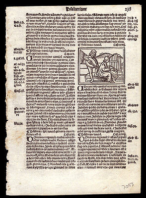 Psalms 95 - 102 1519 Bible Leaf Woodcut of Men Rejoicing in The Lord Catholic