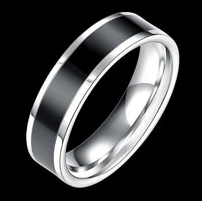 Quality men's 316L stainless steel silver black ring 6mm smooth fit finger band