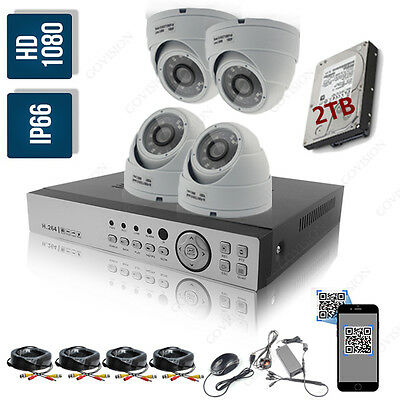 CCTV 4 Channel HD 1080P 2.4MP Night Vision Outdoor DVR Home Security System Kit