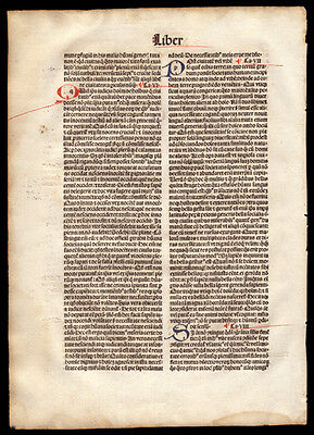 Incunable Leaf 1494 St Augustine of Hippo The City of God Commentary Christian