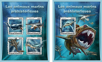 Dinosaurs Prehistoric Sea Animals Dolphins Sharks Central Africa MNH stamps set