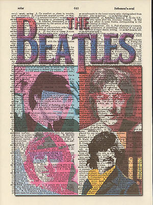 Beatles Colorful Faces Mod Altered Art Print Upcycled Vintage Dictionary Page