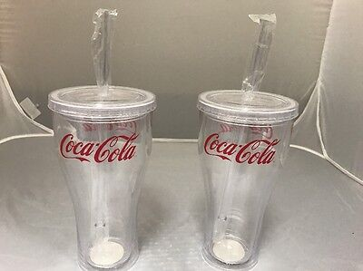 Coca-Cola 20oz Clear Tumbler Cup w/ Lid - BRAND NEW- 2 PACK