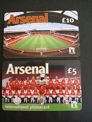 COLLECTORS ITEM Mint ARSENAL FOOTBALL CLUB Phonecards Team  &  Stadium Free P&P