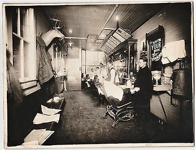 RARE Old Photo BARBER Shop Interior ca 1910 Oil City PA - Advertising Signs etc