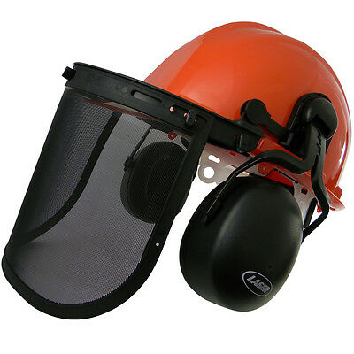 LASER Chainsaw Safety Helmet With Adjustable Ear Muffs & Protective Shield