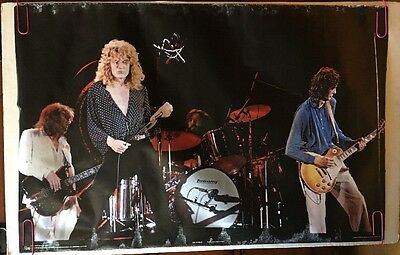 Led Zeppelin Vintage Poster Group Shot Stage 1970s Music Memorabilia Pin-up Rock