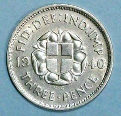 Great Britain 3 Pence 1940 Very Fine/extra Fine Silver Coin
