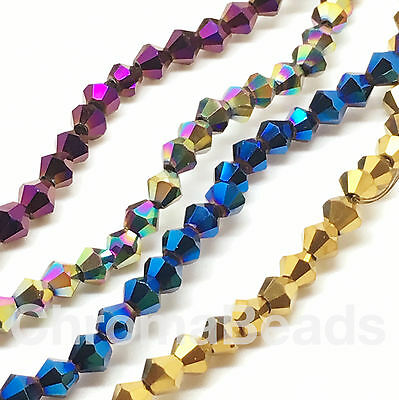 4mm Electroplated glass crystal faceted bicone beads - approx 16 inch strand