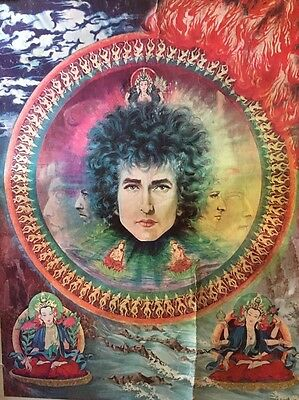 blacklight vintage poster Bob Dylan Psychedelic Earth Water Fire Air Original 68
