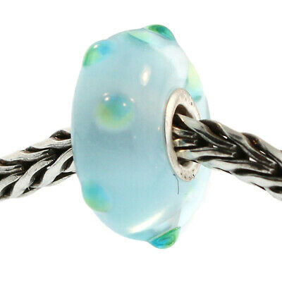 Authentic Trollbeads Glass 61352 Clear Blue Bubbles 1 RETIRED