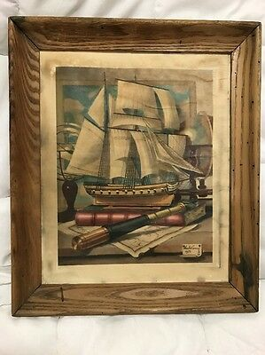 Vintage Original Framed 1961 Litho, Charles Cerny 1959 Nautical Maritime Art