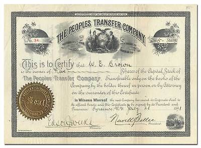 1891 Peoples Transfer Company Stock Certificate - Syracuse, NY, Bought by AMEX