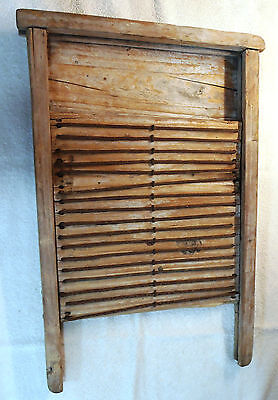 Rare Antique Primitive Hand Made Rustic Wash Board Wood with Metal Ribs