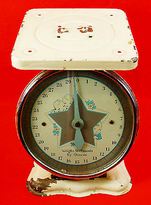 Vintage Baby Infant 30 LB Scale with Cute Babies on Front - Silver Star Logo