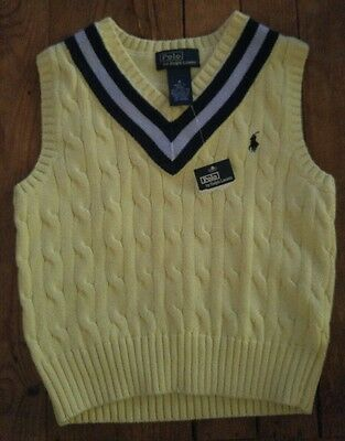 NWT **NEW** POLO by RALPH LAUREN Yellow Cable Knit Sweater Vest Sz 4
