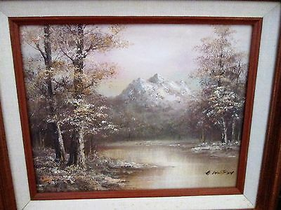 Vintage Framed Oil On Board Painting -G.whitman-Landscape -The Gallery-12.5X14.5