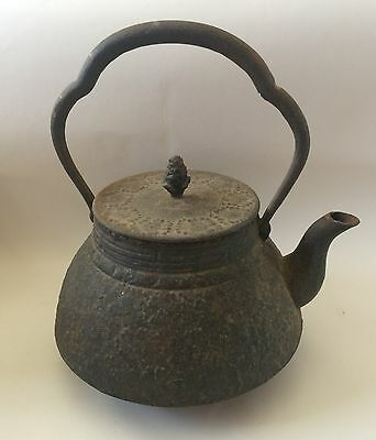 Cast Iron Tetsubin Teapot Tea Kettle Chrysanthemum Flower Design Vintage Antique