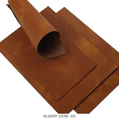Buffalo leather Cognac Soft Pull-Up 2,4mm Thick Brown Cowhide Croupon LARP 27