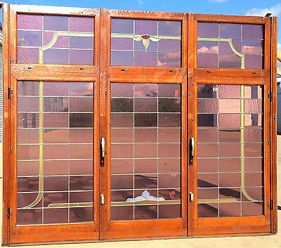 7 ft. Antique Stained Glass Window, Beautiful Colors!  Side Windows Can Open