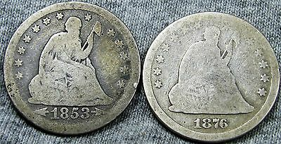 1853 + 1876 Seated Liberty Quarter Dollar --- TYPE COINS LOT --- #N246