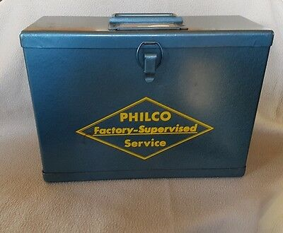1950 Advertising Collectible - Philco Repairman'S Metal Case - Tool Carry Box