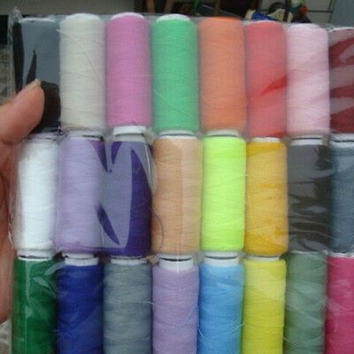 24 Assorted Colors Cotton Polyester Embroidery DIY Sewing Thread Spool of Yarn