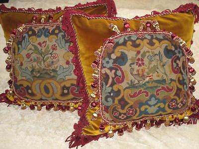 STRIKING PAIR OF 19TH c NEEDLEPOINT TAPESTRY CHIPPENDALE BIRD PILLOWS