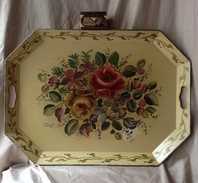 Vintage Antique TOLE Wear Tray  Extra Large Hand Painted W / Roses & Florals