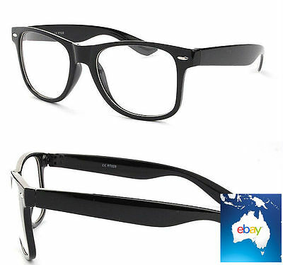 Classic Wayfarer Clear Lens Glasses with Black Frame /Retro /Nerd /Free Postage