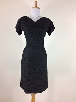 Vintage 1940s 50s Black Lace Cocktail Party Dress WWII Wiggle Size Small