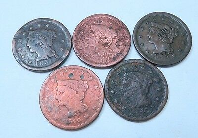(5) Different Braided Hair Large Cent Lot // 5 Coins // (LCL14)