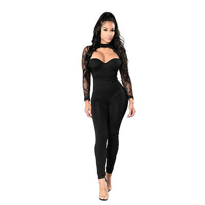 Women Lace Patchwork Jumpsuit Romper O-neck Hollow Out Long Sleeve Pant Trousers