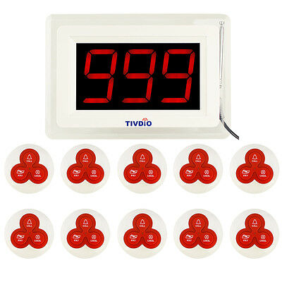 Restaurant Calling Paging System Receiver Display Host+10X Call Button Pager Hot
